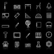 School line icons with reflect on black Piirros