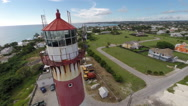 Stock Video Footage of South Point Lighthouse Barbados, Aerial View