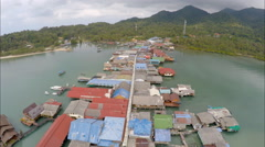 Aerial village on a dock Thailand 2 Stock Footage