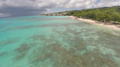 Barbados beautiful turquoise beaches from above - stock footage