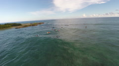 Surfers waiting for waves in Barbados Stock Footage
