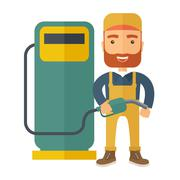 Stock Illustration of Gasoline boy with gas pump