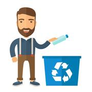 Man throwing plastic container into recycle can - stock illustration