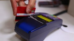 Credit card payment terminal. Transfer payment - stock footage