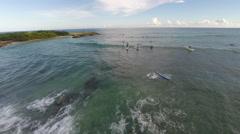 Surfers in Barbados, Aerial footage Stock Footage
