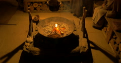 A fireplace in the house of a peasant family Stock Footage