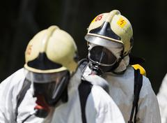 Toxic chemicals and acids emergency team Stock Photos