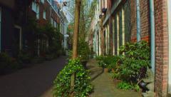 Cute street of Korte Houtstraat Haarlem Netherlands Stock Footage