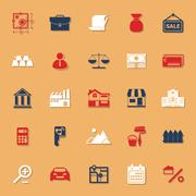 Mortgage and home loan classic color icons with shadow Stock Illustration