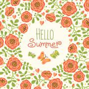Stock Illustration of Season card Hello Summer with cute flowers and butterflies