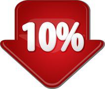 Stock Illustration of Ten percent down arrow bubble illustration
