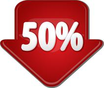 Fifty percent down arrow bubble illustration - stock illustration