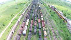 Freight train cars aerial Stock Footage