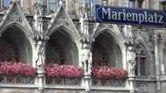 Marienplatz street sign direction Munich Marys Square tourism attraction iconic  Stock Footage