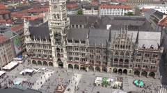 ULTRA HD 4K Aerial view Marienplatz Marys Square Munich landmark sunny day town  Stock Footage