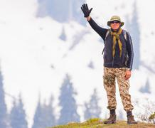 hiking and adventure at the mountain - stock photo