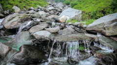 Cascade of waterfall in mountains Stock Footage