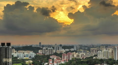 Storm clouds over singapore port day to night 4k timelapse - stock footage