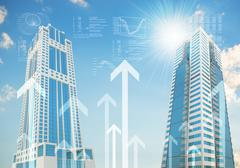 Skyscrapers with arrows Stock Illustration