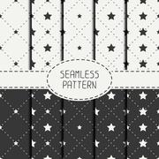 Set of geometric seamless stars pattern. Collection of wrapping paper. Paper for - stock illustration
