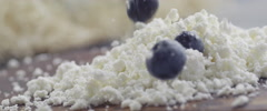blueberries and cottage cheese slow motion 5 - stock footage