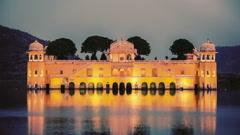 Jal Mahal (Water Palace) on Man Sagar Lake in the evening in twilight. Jaipur Stock Footage