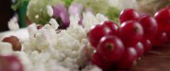nuts berries cheese Slow Motion macro 4k - stock footage
