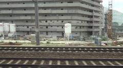 ULTRA HD 4K POV Point of view train construction site crane machine block design Stock Footage