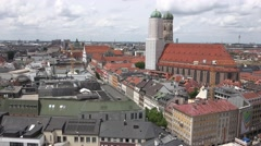 ULTRA HD 4K Panorama Munich skyline sunny day famous cathedral tower church icon Stock Footage