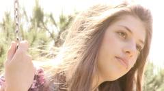 Closeup of sad teenager outdoors Stock Footage