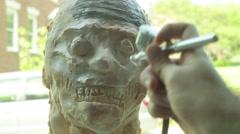 Spray latex mask airbrush airbrushing Stock Footage