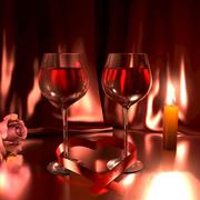 Romantic scene with glasses of good red wine,a rose, lit candle Stock Illustration