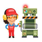 Female Factory Worker is Working on Press Machine Stock Illustration