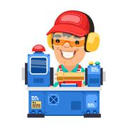 Stock Illustration of Factory Worker is Working on Lathe Machine