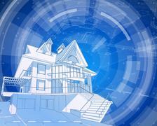 Architecture design: blueprint house, plan & blue technology radial backgroun - stock illustration