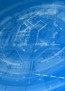 Blueprint house plan & blue technology radial background Stock Illustration