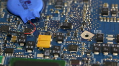 Circuit board closeup pan Stock Footage