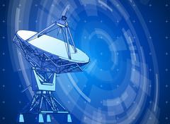 Doppler radar & blue radial technology background Stock Illustration