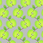 Seamless pattern made of sliced green apples Stock Illustration