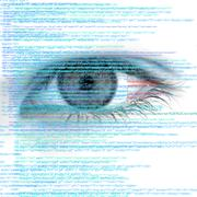 Web Computer Code with Human Eye Abstract Background Stock Illustration