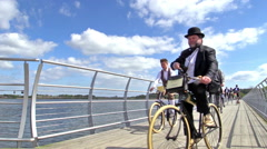 Stock Video Footage of International Veteran Cycle Association (IVCA) Costume ride