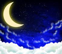 Crescent on a cloudy night sky Stock Illustration