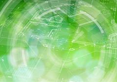 Blueprint plan, radial HUD elements & green bokeh Stock Illustration