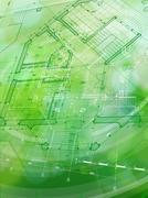 Blueprint house plan & green technology radial background - vector illustration Stock Illustration