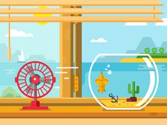 Fan and Aquarium on Windowsill Next to Open Window Stock Illustration