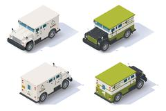 Vector isometric armored truck - stock illustration