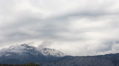 Panoramic view of snow mountains before storm. Turkey, Central Taurus Mountains Stock Footage