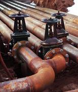 Oil and gas pipe line valves Stock Photos