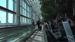 Escalator people mover Dulles International Airport Washington DC 4K 042 Stock Footage