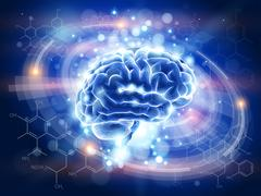 brain - blue technology concept - stock illustration